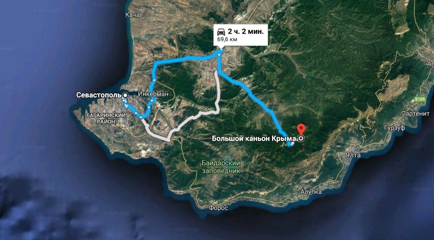 Маршрут на Большой каньон Крыма из Севастополя
