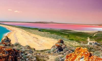 Розовое озеро Крым координаты на карте