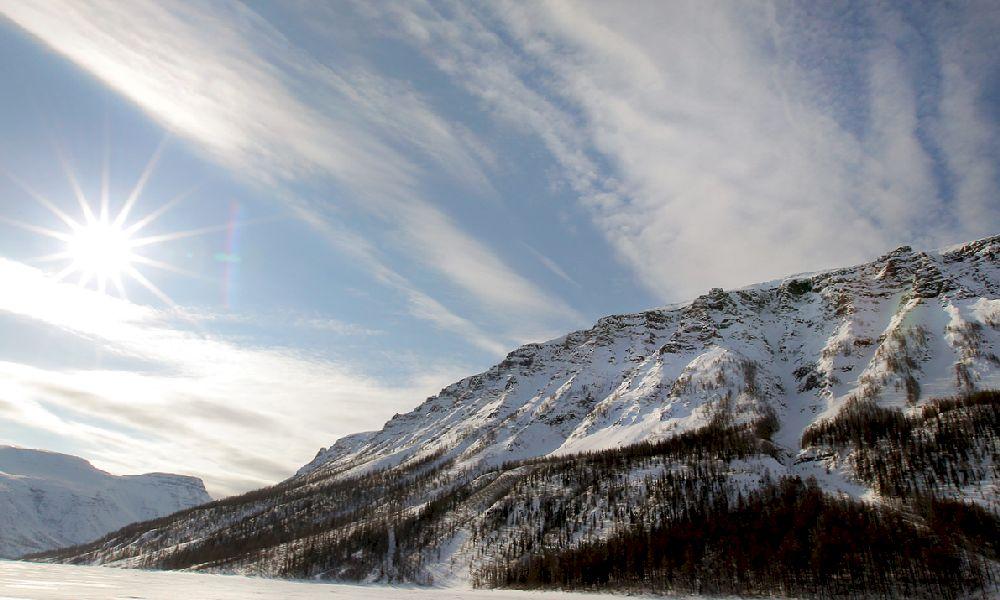 Плато Путорана в Сибири зимой